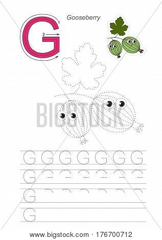 Vector illustrated worksheet to preschool children learn handwriting, the page to be traced for gaming and education with easy educational kid game level. Tracing worksheet for letter G, goose berry.