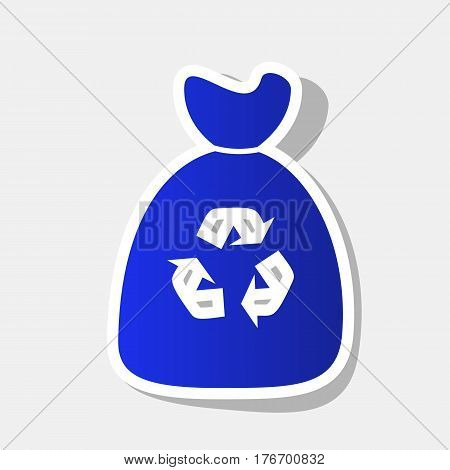 Trash bag icon. Vector. New year bluish icon with outside stroke and gray shadow on light gray background.