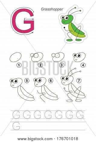 Complete vector illustrated alphabet with kid games. Learn handwriting. Easy educational kid game. Simple level of difficulty. Gaming and education. Drawing tutorial for letter G. Cute grasshopper.