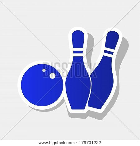 Bowling sign illustration. Vector. New year bluish icon with outside stroke and gray shadow on light gray background.