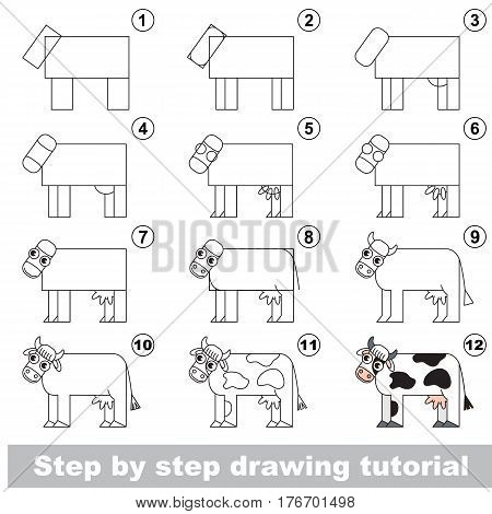 Kid education and gaming - the drawing tutorial for preschool children with easy educational kid game level, the funny drawing school. How to draw Cow.