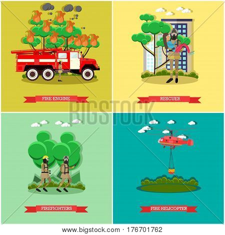 Vector set of fire posters. Fire engine, Rescuer, Firefighters and Fire helicopter flat style design elements.