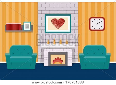 Living room interior in flat design with fireplace and armchairs. Vector background. Cartoon lounge with furniture and brick wall.