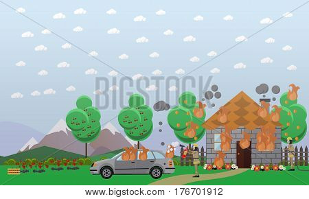 Vector illustration of firefighters in protective clothing and helmets extinguishing fire in country house and in car. Burning vacation house flat style design element.
