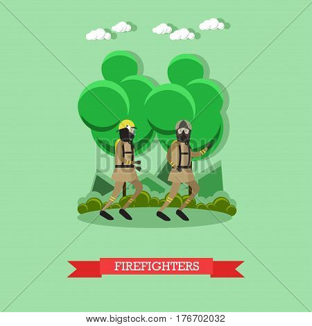 Vector illustration of running firefighters in protective clothing, helmets and masks. Flat style design.