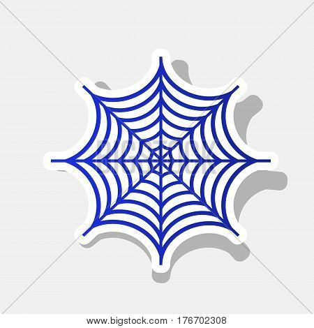 Spider on web illustration. Vector. New year bluish icon with outside stroke and gray shadow on light gray background.