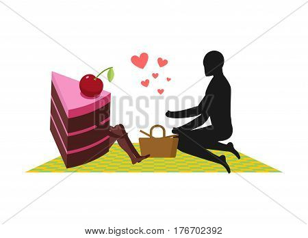 Lover Of Cakes. Man And Piece Of Cake On Picnic. Lovers And Basket And Picnic Blanket. Glutton Of Li