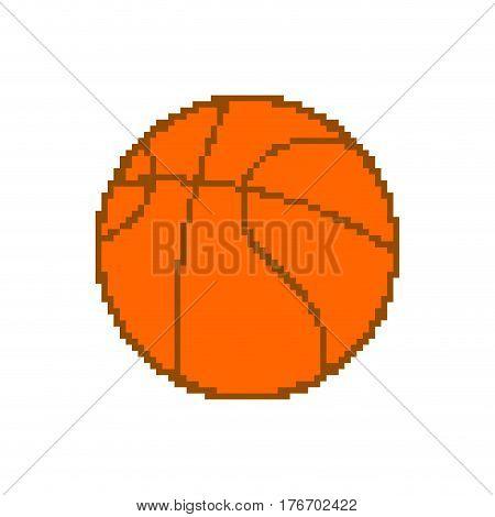 Basketball Pixel Art. Pixelated Ball Isolated On White Background