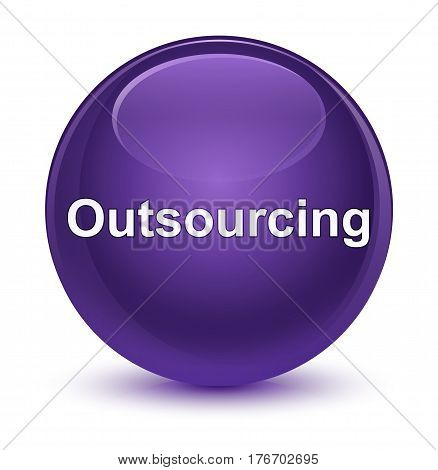 Outsourcing Glassy Purple Round Button