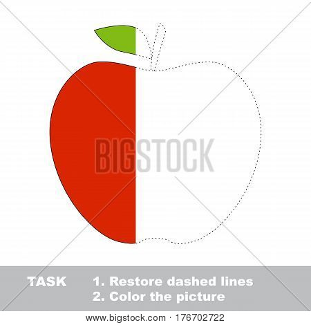 Red apple in vector to be traced. Restore dashed line and color the picture. The tracing game for preschool children with easy game level.