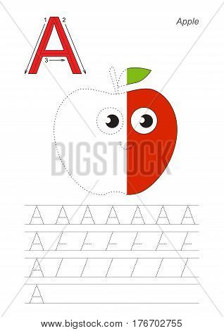 Vector exercise illustrated alphabet, kid gaming and education. Learn handwriting. Half trace game. Easy educational kid game. Tracing worksheet for letter A. Funny apple.