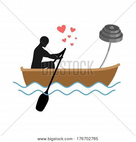 Lover Fitness. Man And Barbell Ride In  Boat. Lovers Sport. Always Together. I Love Bodybuilding