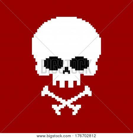 Skull Pixel Art. Head Of Skeleton Pixelated Isolated On White Background