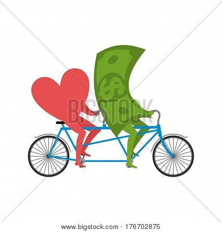 Love And Money In Tandem. Selling Love. Dollar And Heart Cycling