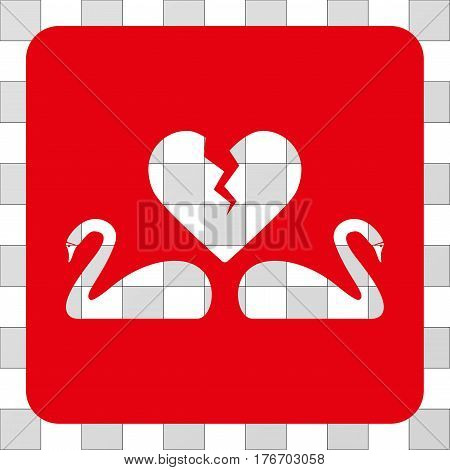 Divorce Swans interface toolbar icon. Vector pictogram style is a flat symbol perforation centered in a rounded square shape, red color.