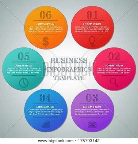 Infographics circle template 6 options parts steps. Infographic business concept with icons. Elements for brochure web design. Vector layout for text. Info graphic data.