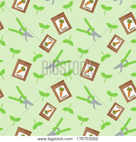 Seamless vector pattern with pruners and packages with seeds of carrot on light green background.