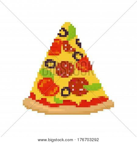 Pizza Pixel Art. Piece Of Pizza Is Pixelated. Fast Food Isolated