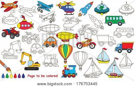 Big transport set to be colored. Coloring book to educate preschool kids with easy kid educational gaming and primary education of simple game level of difficulty.