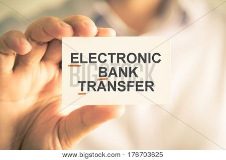 Businessman Holding Card With Ebt Electronic Bank Transfer Acronym Text