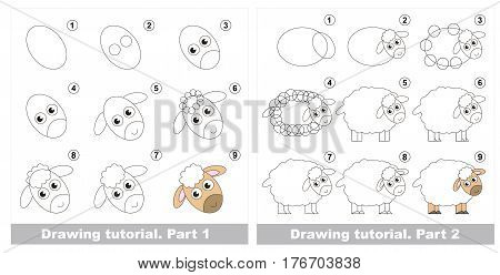 Vector kid educational game to develop drawing skill with easy game level for preschool kids education, the funny drawing kid school. Big drawing tutorial for Farm Animal Sheep.