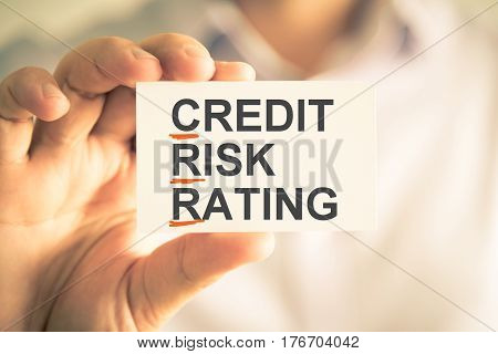 Businessman Holding Card With Crr Credit Risk Rating Acronym Text