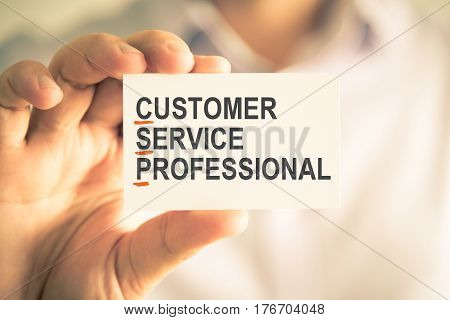 Businessman Holding Card With Csp Customer Service Professional Acronym Text