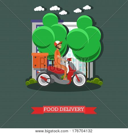 Vector illustration of delivery man riding scooter. Delivery courier delivering food by motorcycle flat style design element.