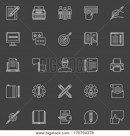 Copywriting outline icons. Vector collection of web content writing linear creative signs on dark background