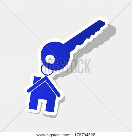 key with keychain as an house sign. Vector. New year bluish icon with outside stroke and gray shadow on light gray background.