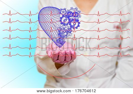 Concept of health and medicine female doctor holding a red heart with gears with ecg lines