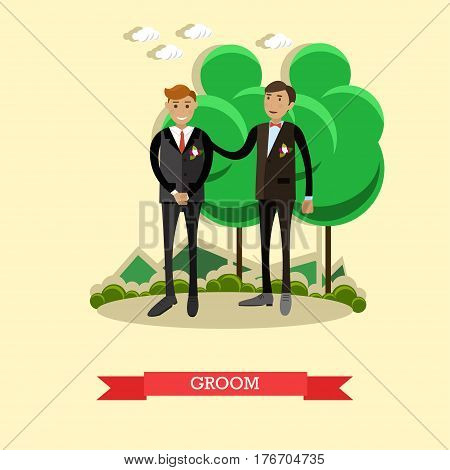 Vector Illustration of groom and the best man. Wedding concept design element in flat style.