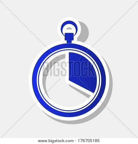 The 20 seconds, minutes stopwatch sign. Vector. New year bluish icon with outside stroke and gray shadow on light gray background.