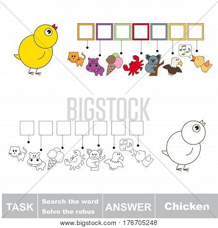 Vector rebus game for preschool kids with easy educational game level for kid education during gaming, find solution and write the hidden word in grid cells - Chicken