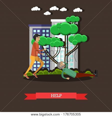 Vector illustration of young man giving glass of water to lying on the ground elderly man. Help concept design element in flat style.