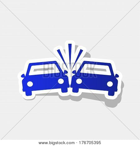 Crashed Cars sign. Vector. New year bluish icon with outside stroke and gray shadow on light gray background.