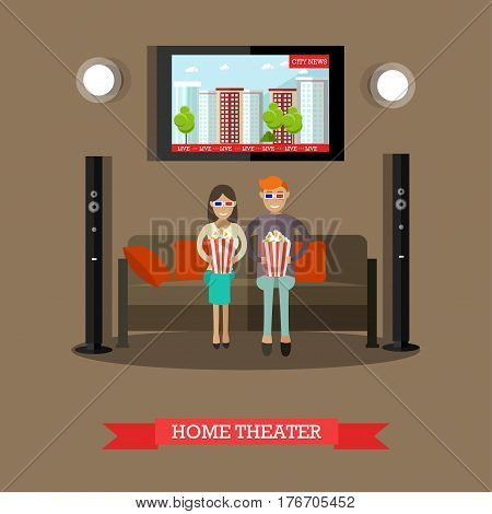 Vector illustration of young couple in 3d eyeglasses watching city news and eating popcorn. Home theater design element in flat style.
