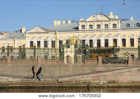 SAINT PETERSBURG RUSSIA - APRIL 7 2014: Former estate Sheremetevs graphs - a unique historical and cultural monument of the 18th century. Currently the palace houses the Museum of Theatre and Music.