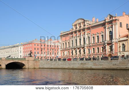 SAINT PETERSBURG RUSSIA - APRIL 7 2014: View from the Fontanka River at Beloselsky-Belozersky (Sergievskiy Palace) - the former Grand Palace in St. Petersburg located at the intersection of Nevsky Prospekt and the Fontanka River. The building belongs to t