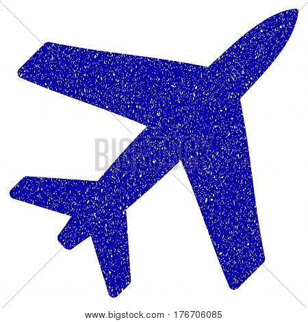 Grunge Airplane rubber seal stamp watermark. Icon symbol with grunge design and dust texture. Unclean vector blue emblem.