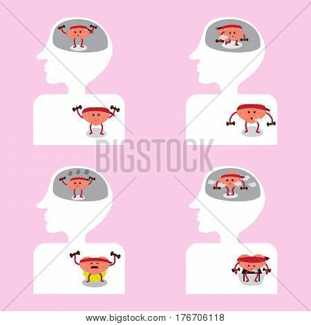 brain and heart cartoon exercise together vector illustration image showing different actions inside head and body (conceptual image about how brain and heart are functioning)