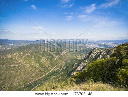 Aerial panoramic view from Montserrat mountains Montserrat Spain