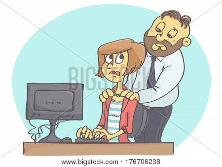 Cartoon illustration of manager or worker harassing female colleague at work.
