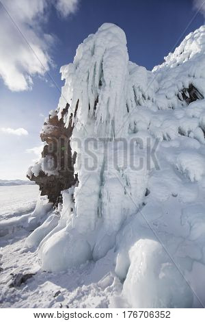 Icicles In Mare's Head Cape, Lake Baikal, Olkhon Island. Winter Landscape