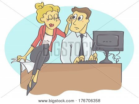 Woman manager or coworker harassing man at work by touching.