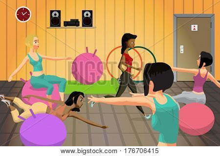 Young women doing fitness group exercises on a gymnastic ball in the gym, under the guidance of a coach. Flat cartoon vector illustration