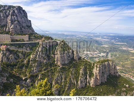 View onto Montserrat mountains and Benedictine monastery of Santa Maria de Montserrat