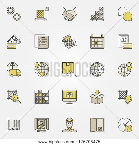 Logistic colorful icons collection. Vector set of creative symbols of customer service for logistic company