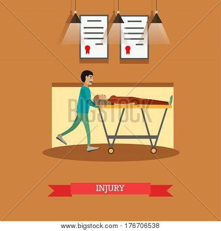 Vector illustration of man pushing hospital stretcher with woman lying on it. Injury concept design element in flat style.