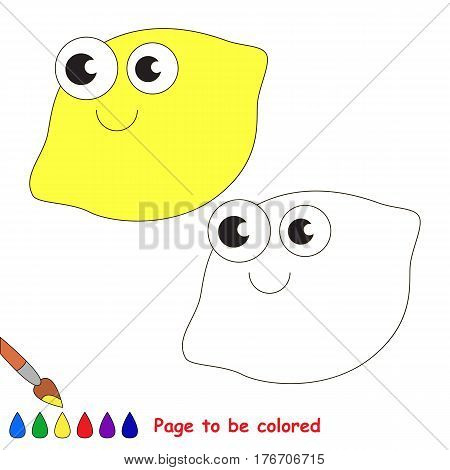 One lemon to be colored. Coloring book to educate kids. Learn colors. Visual educational game. Easy kid gaming and primary education. Simple level of difficulty. Coloring pages.